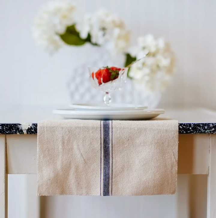 Farmhouse Table Runner - Red Blue Stripe