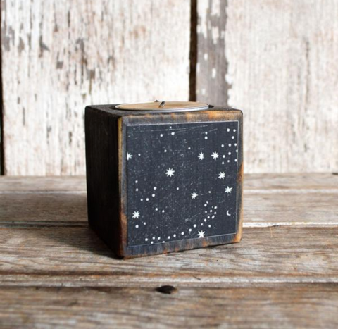 Cellestial Stars Blackened Reclaimed WoodBlock Candle
