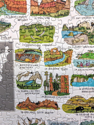 National Parks on White Background Jigsaw Puzzle