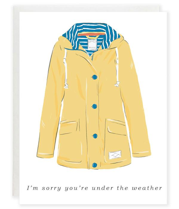 Under the weateher rain jacket get well card - GS3
