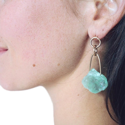 Ronan Earrings - 14k Gold and Calcite
