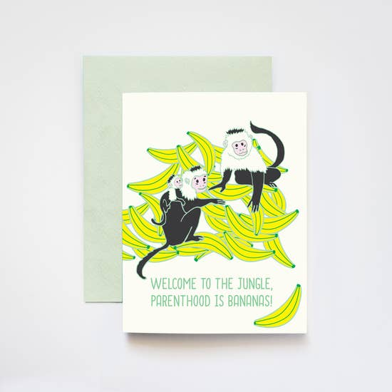 Jungle Parenthood is Bananas Monkey Card - IL4