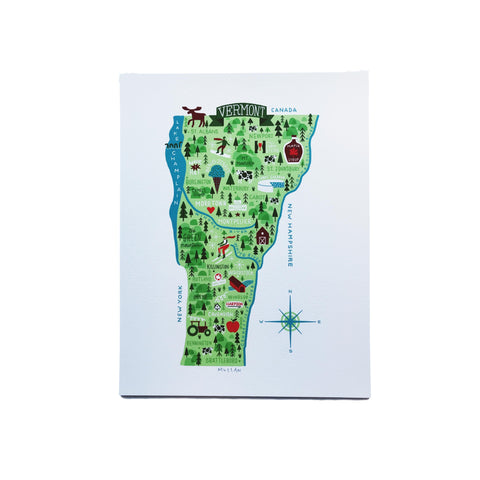 """This is Vermont"" Print Series - Illustrated Vermont Map 8.5 x 11"