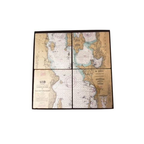 Marble Burlington Map Coasters - Set of 4