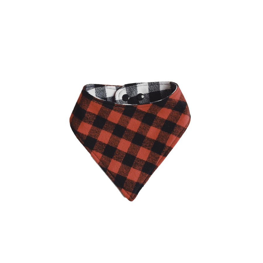 Reversible Flannel Bib - White/ Red