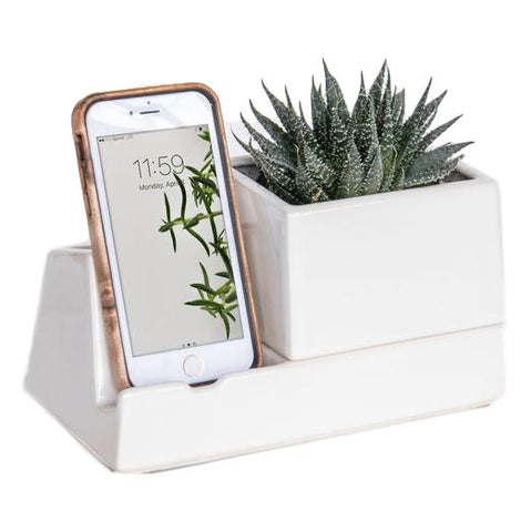 White Ceramic Phone Dock Planter