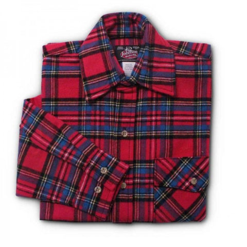 Red Stewart Plaid Men's Flannel Shirt
