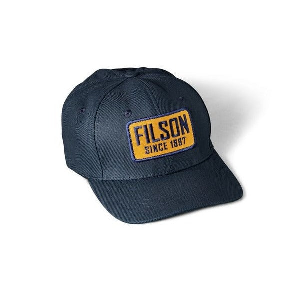 Filson Navy Logger Cap with Yellow Patch