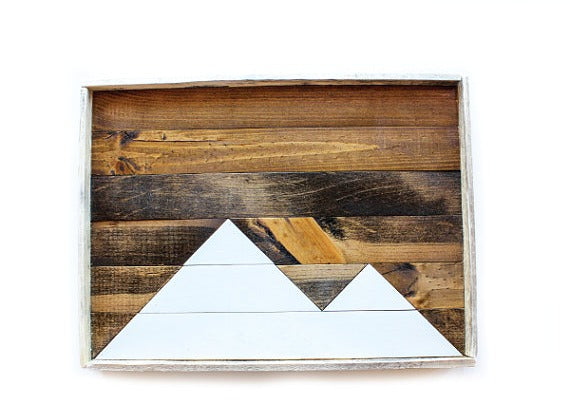 Handmade Reclaimed Wood Tray - White Mountain