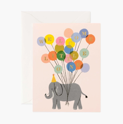 Welcome Elephant With Balloons Card - RP4