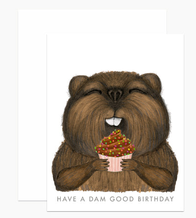 Beaver with Cupcake Birthday Card - DH5