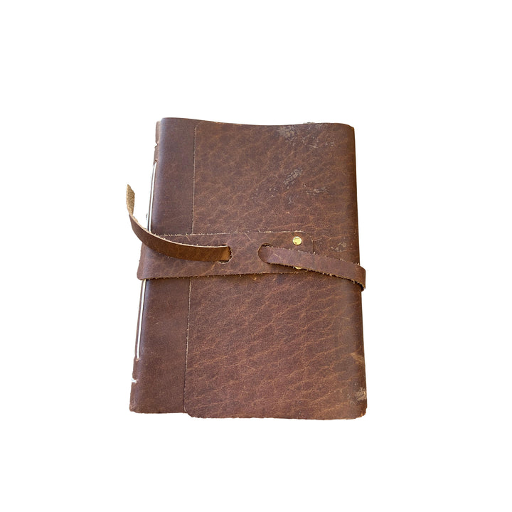 Large Leather Hand-Bound Notebook - Cognac Tan