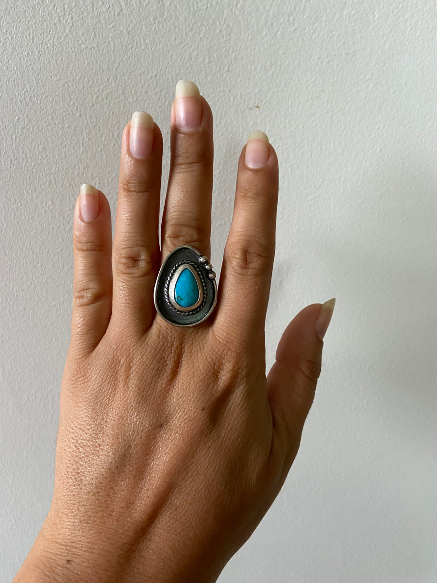 One of a Kind Medium Turquoise Ring - Dark Dot Right