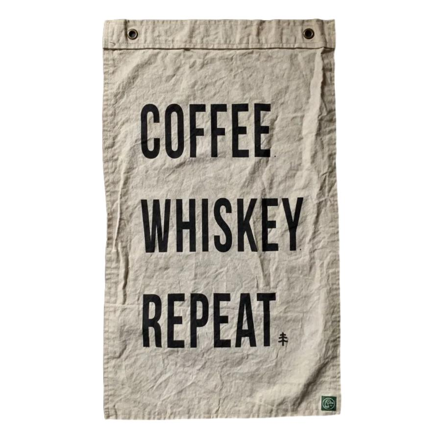 Coffee Whiskey Repeat Canvas Flag