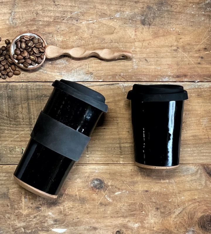 Large Stoneware Travel Mug - Black