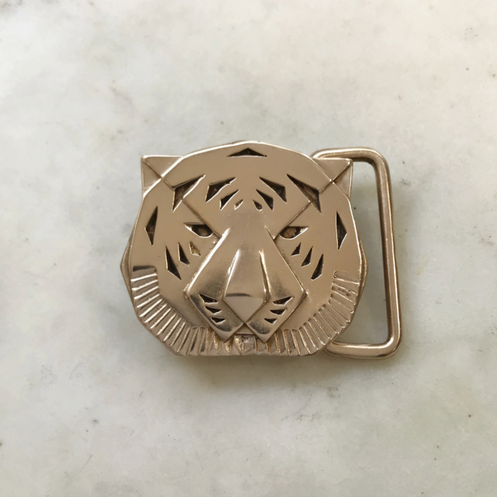 Bronze Tiger Belt Buckle