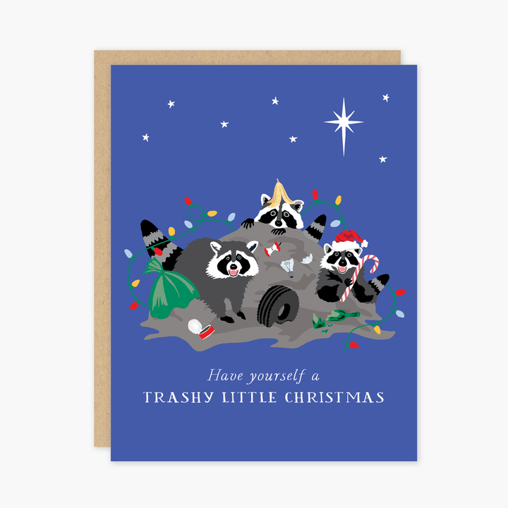 Trashy Christmas Racoons Card - PO7
