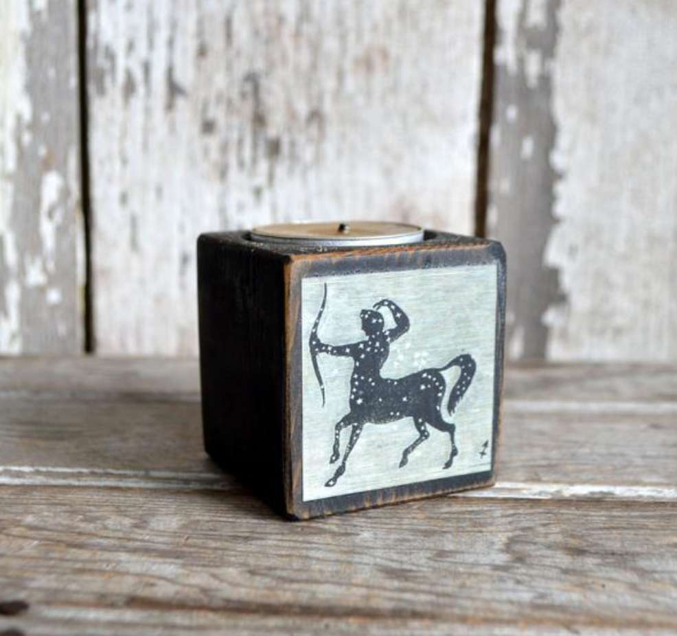 Sagittarius Candle Reclaimed Blackened Wood Block