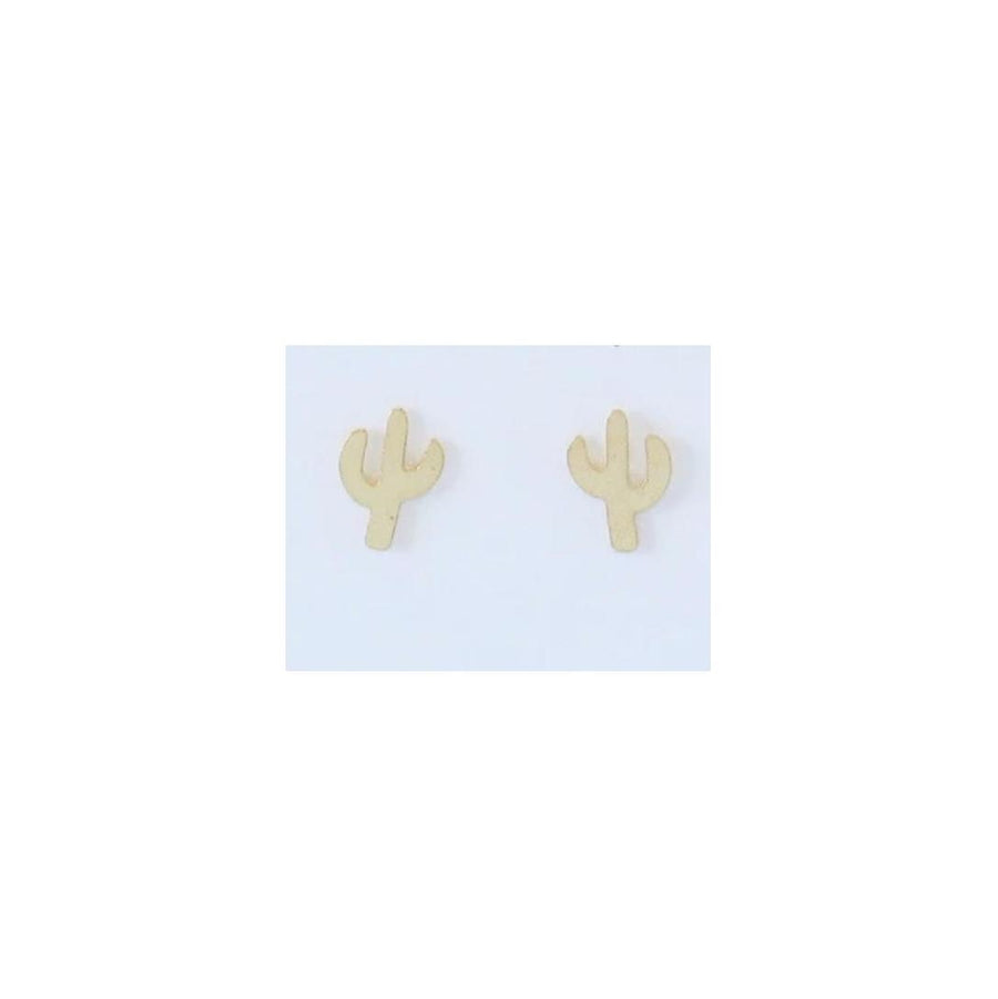 Flat Cactus Stud Earrings