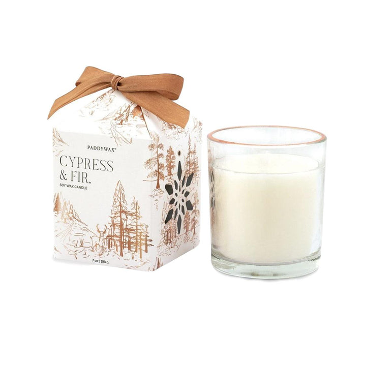 Cypress Fir Holiday Glass Candle with Ornament - 7oz