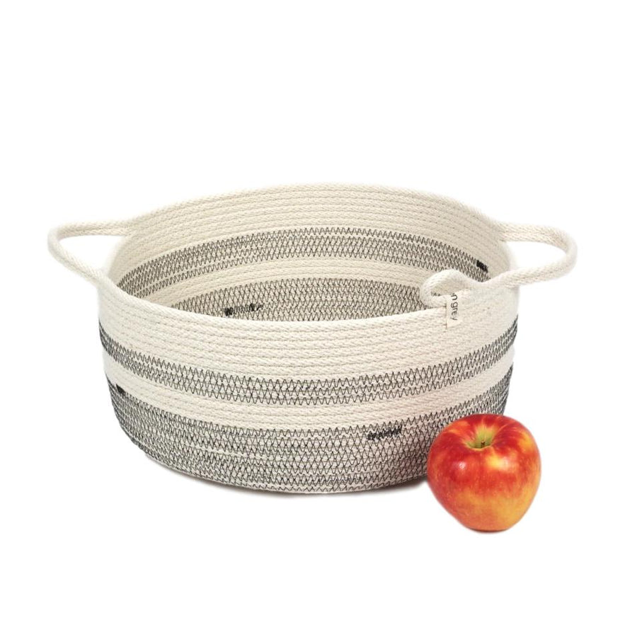 Two Handled White Woven Basket