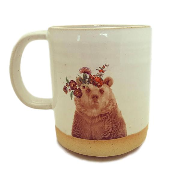 Handmade Flower Crown Bear Mug