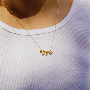 VOTE Letter Necklace Gold Fill