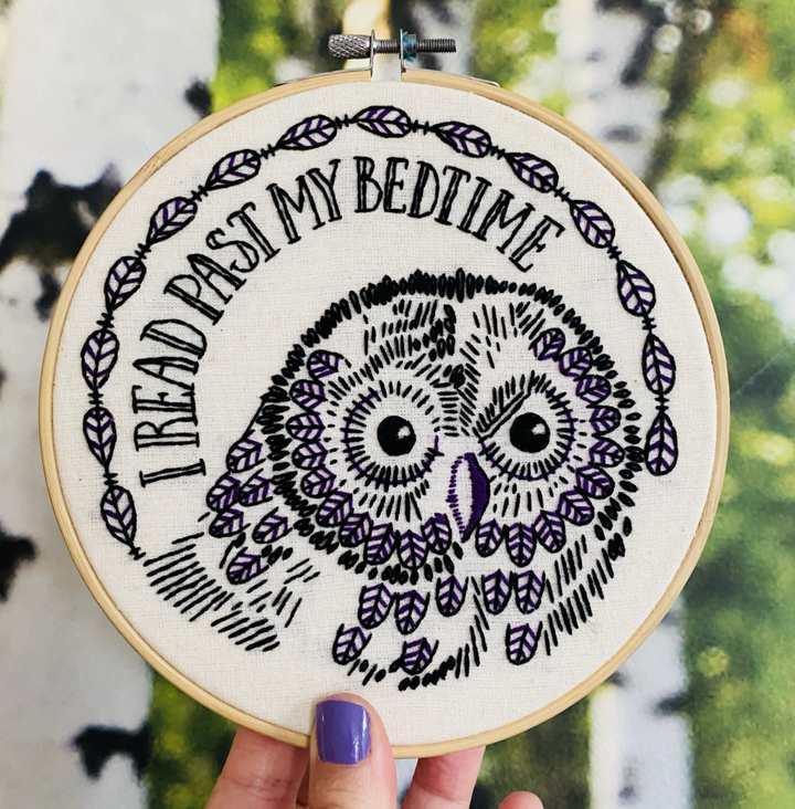 I Read Past My Bedtime Complete Embroidery Kit