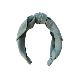 Linen Top Knot Headband - Mist