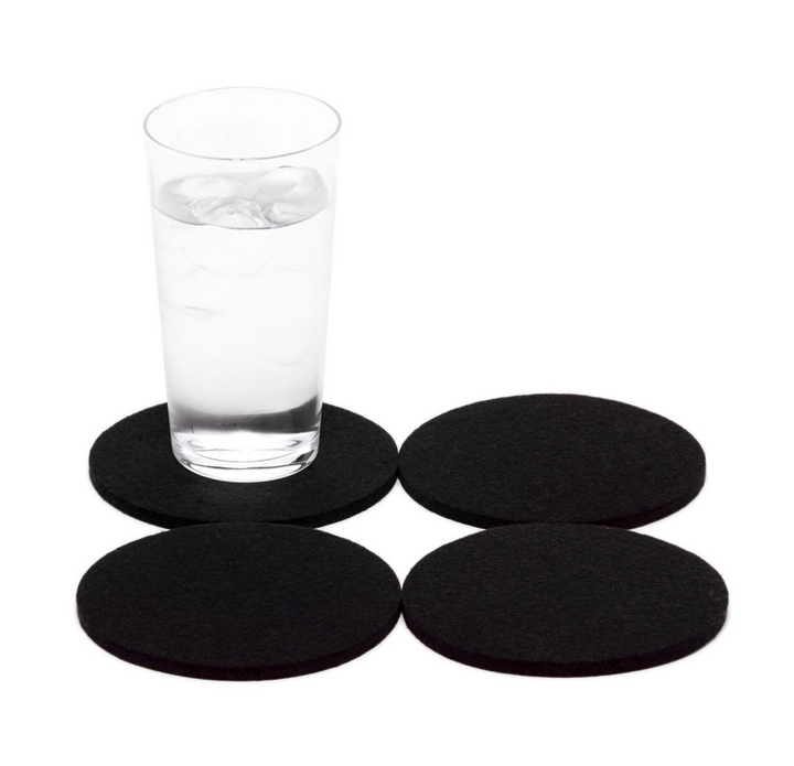 Round Felt Coasters in Black