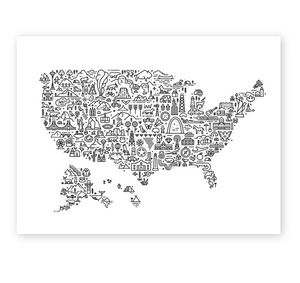 Illustrated Map of America - 18x24