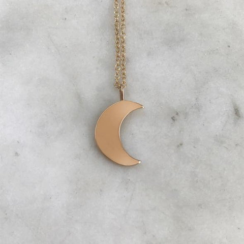 "Bronze Crescent Moon 18"" Necklace"