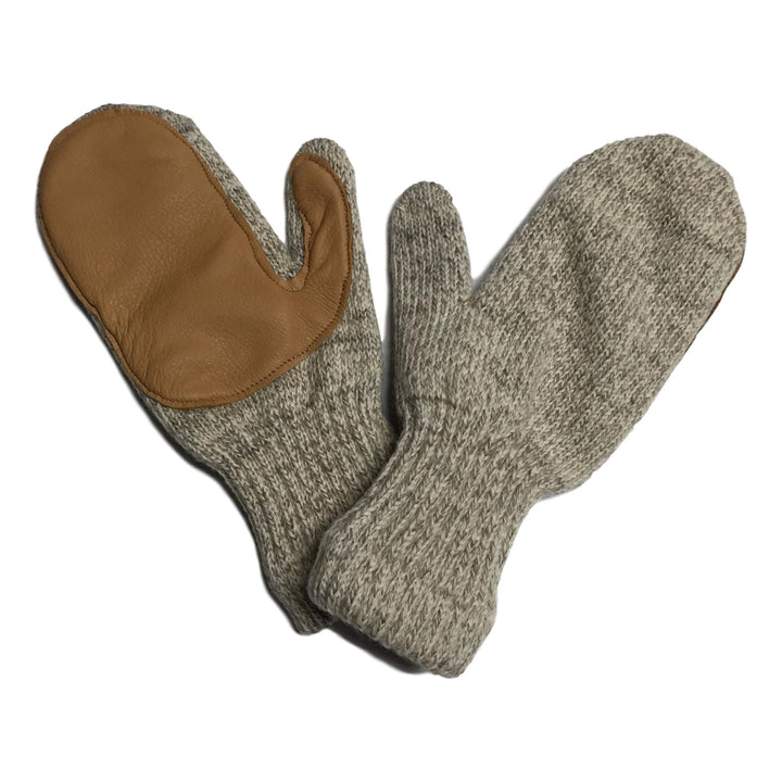 Oatmeal Wool Mittens with Deerskin
