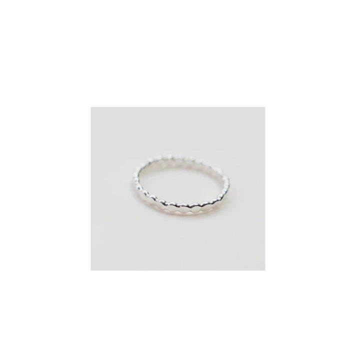 Silver Flat Ball Stacking Ring