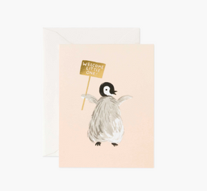 Welcome Little One Penguin with Sign Card - RP4