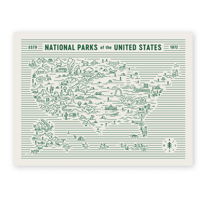 National Parks Map Art Print - 18x24