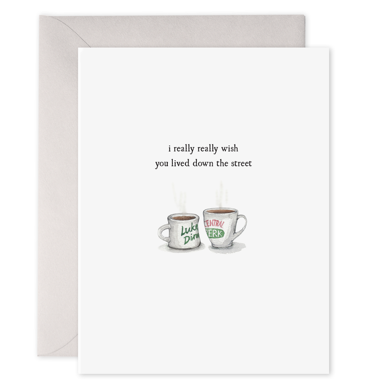 Coffee Cups Down the Street Card - EF2