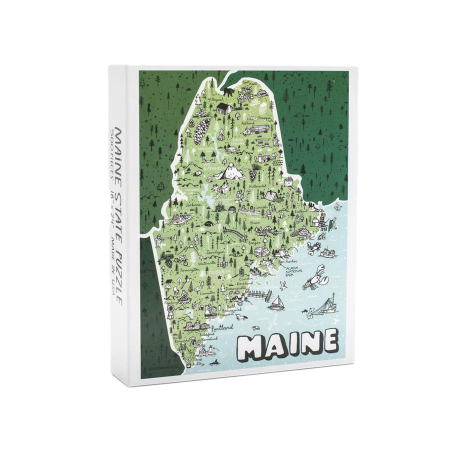 Illustrated Maine Map Puzzle - 500 Piece