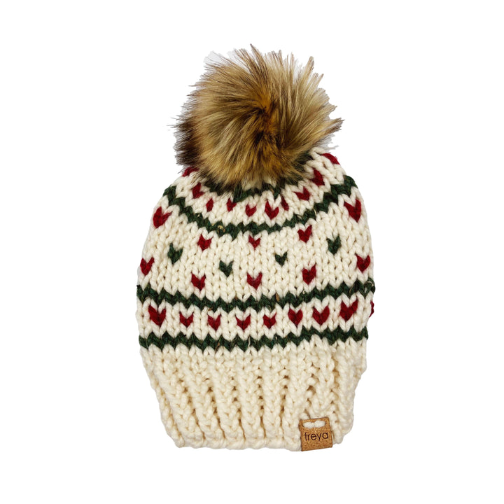 Hand Knit Red & Green Fargo Hat with Faux Fur Pom