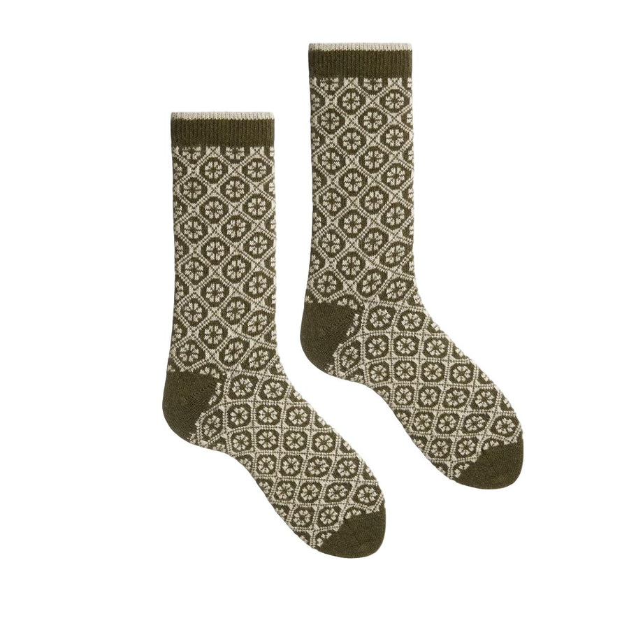 Cashmere/Wool Medallion Crew Women's Socks