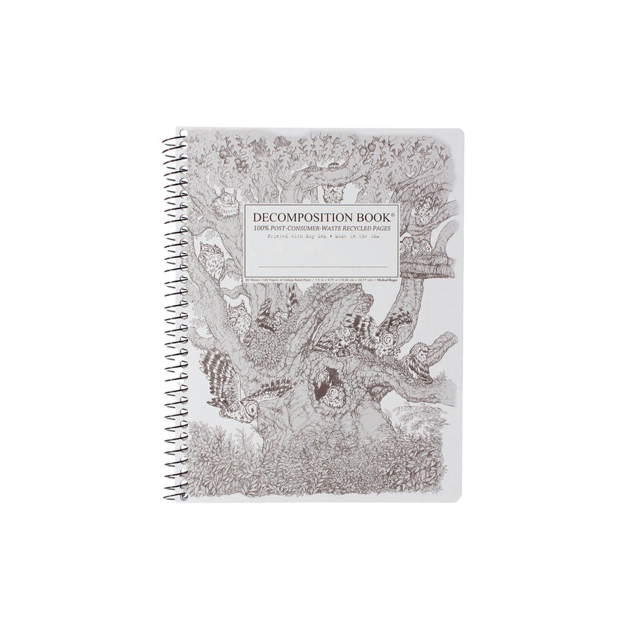 Coilbound Decomposition Lined Notebook - Screech Owls
