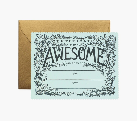 Certificate of Awesome Mint card - RP1