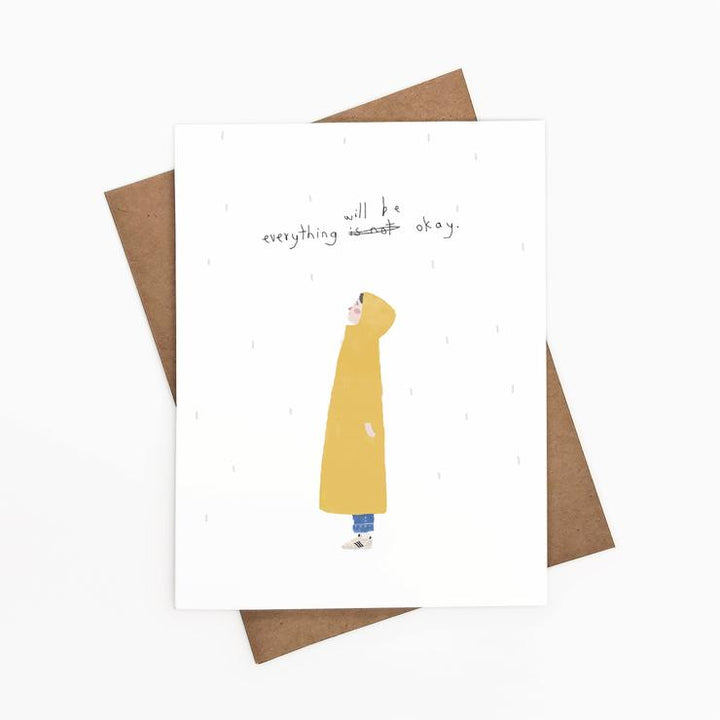 Everything will be ok yellow raincoat card - ie3