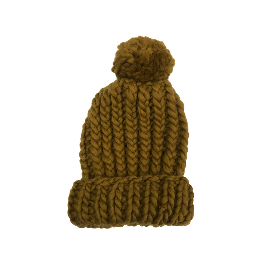 Luxurious Hand-Knit Wool Beanie - Turmeric