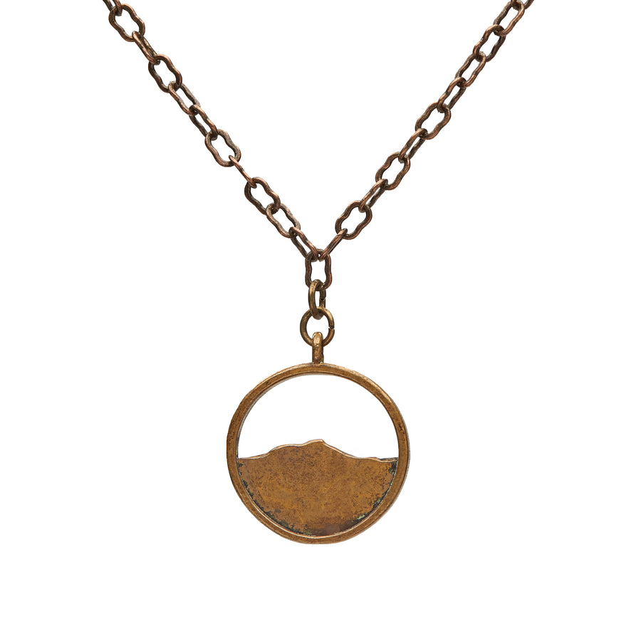 Camel's Hump Circle Oxidized Brass Necklace