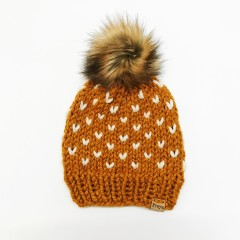 Hand-Knit Butterscotch Hearts Beanie with Faux Fur Pom