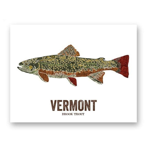 Vermont State Fish Trout Geographic Map Print