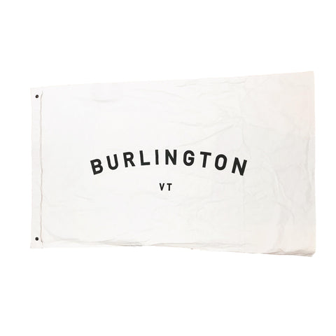 Vintage-Feel Burlington VT Canvas Flag