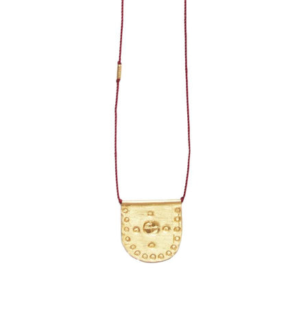 Small Gold Medallion Talisman Necklace - Garnet