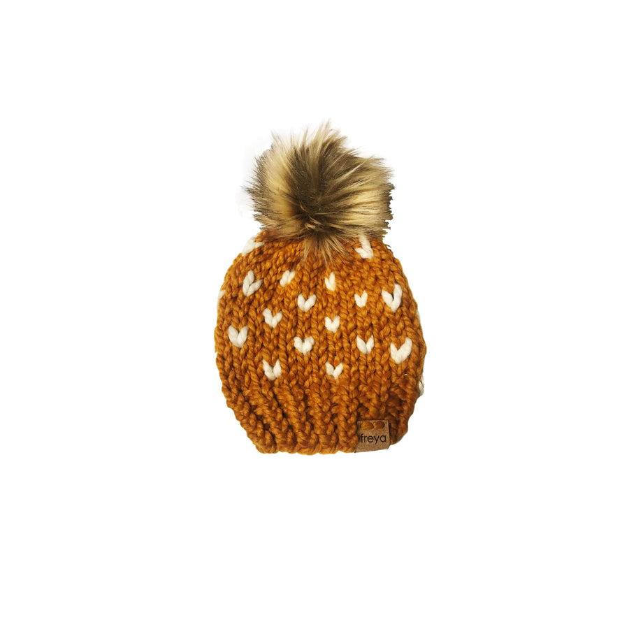 Hand-Knit Butterscotch Hearts Baby Beanie with Faux Fur Pom